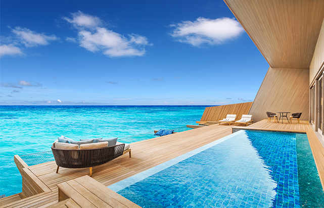 Over Water Villa View and Pool