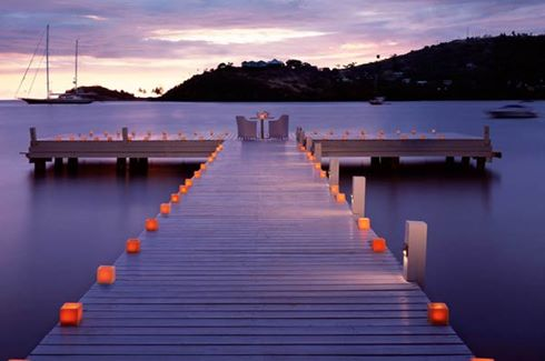 Carlisle Bay - candlelit dining on the jetty
