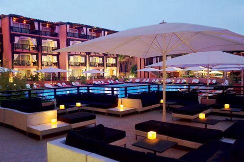 Pool Terrace at Dusk